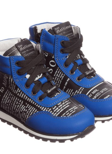 Boys Black Leather High Top Trainers with Blue