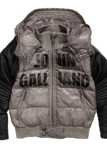 Boys Down Padded Jacket with Leather Sleeves