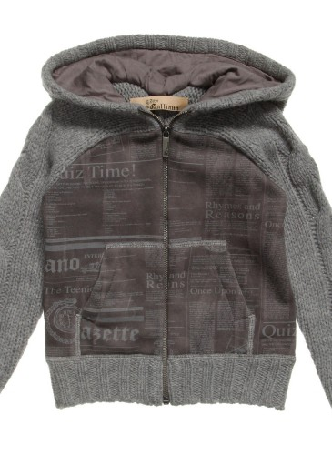 Boys Grey Knitted Zip-up Top