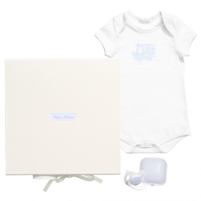 DOLCE & GABBANA Boys Pale Blue Bodyvest Dummy Baby Gift Set $248.57 Get it here: http://www.happymothers.net/dolce-gabbana-boys-pale-blue-bodyvest-dummy-baby-gift-set.html