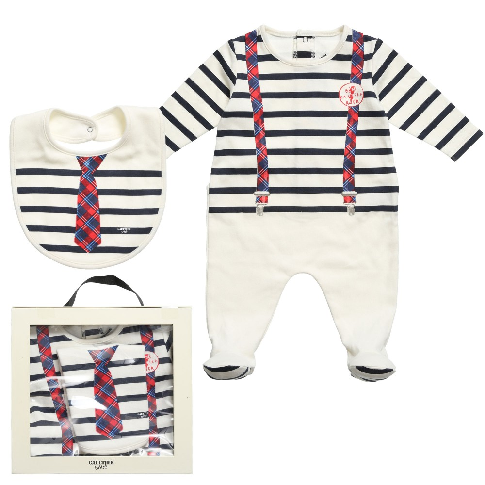 Junior Gaultier Baby Boys Navy Blue Stripe Babygrow & BIb Set $112.48 Get it here: http://www.happymothers.net/junior-gaultier-baby-boys-navy-blue-stripe-babygrow-bib-set.html