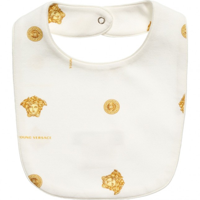 YOUNG VERSACE Ivory and Gold Medusa Unisex Bib $89.09 Get it here: http://www.happymothers.net/young-versace-ivory-and-gold-medusa-unisex-bib-5062.html