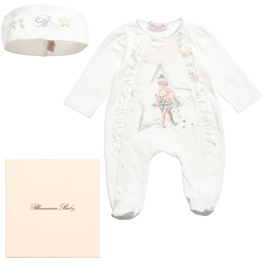 Miss Bluemarine Girls White Babygrow & Headband Gift Set $240.60 Get it here: http://www.happymothers.net/miss-blumarine-girls-white-babygrow-headband-gift-set.html