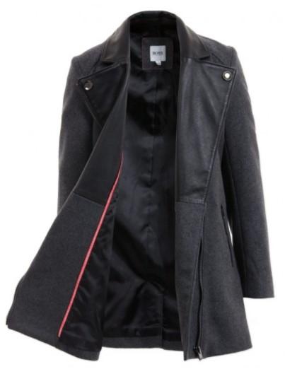 BOSS Girls Grey Wool & Black Leather Coat
