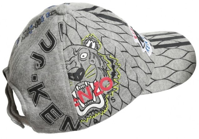 KENZO Grey Multi Icon Jersey Baseball Cap