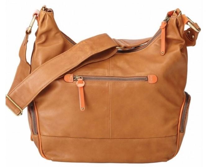 OiOi Tan Lamb Leather Diaper Bag