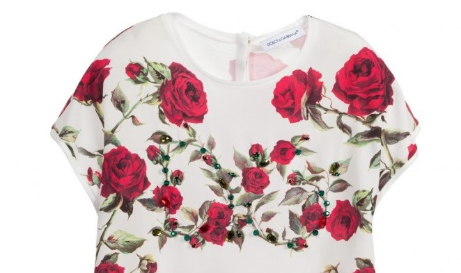 DOLCE & GABBANA Girls Jersey & Silk 'Red Rose'
