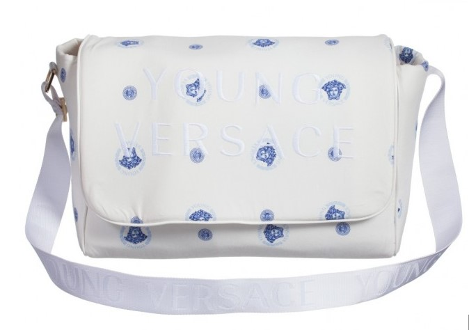YOUNG VERSACE Blue Medusa Print Baby Changing Bag