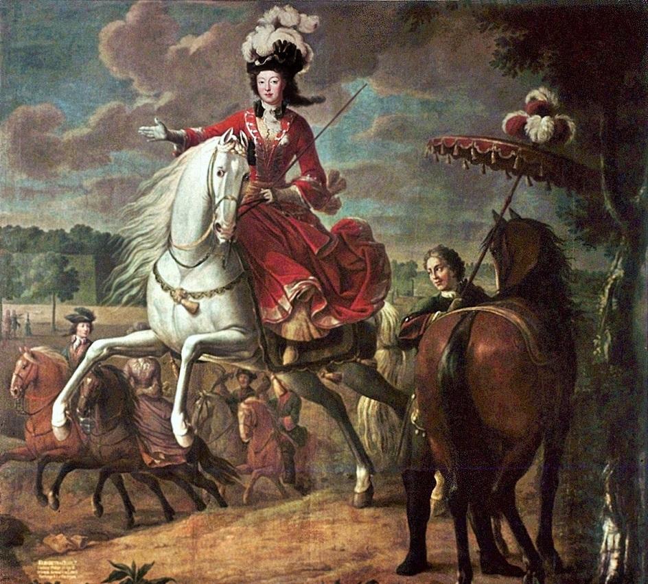 1710 Elizabeth Cahrlotte d'Orleans, Duchesse de Lorraine by Jean-Baptiste Martin,c.1710-15