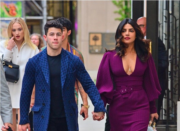 Priyanka Chopra Wows In Purple Dress With Plunging Neckline On Jonas Double Date With Sophie Turner