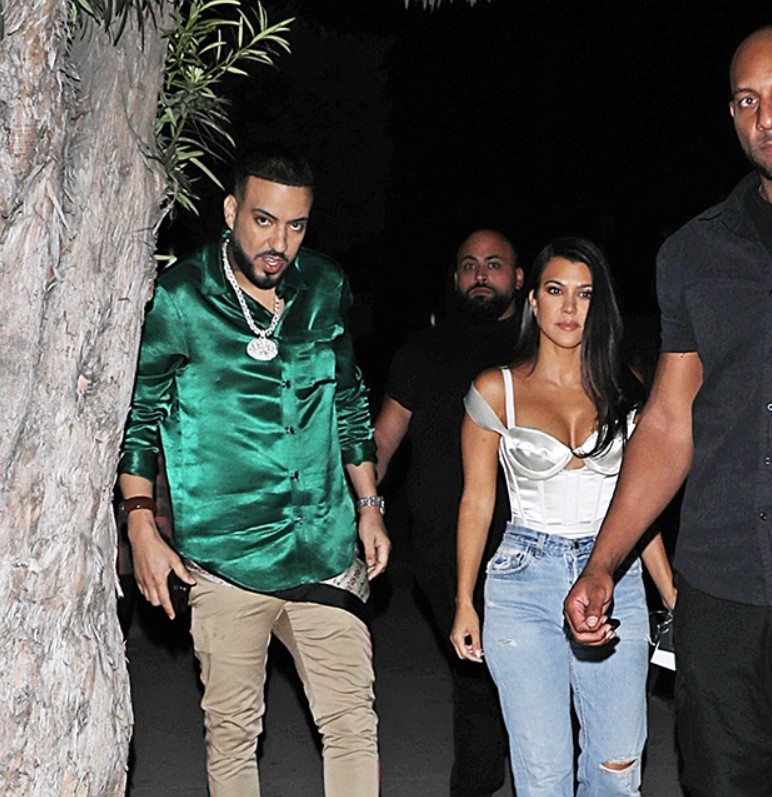Kourtney Kardashian Hangs With Khloe'sEx French Montana & Stuns In PlungingWhite Top