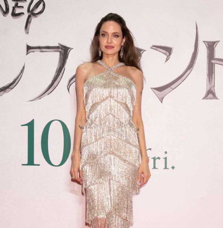 Angelina Jolie Dazzles In Crystal FringeSilver Gown At 'Maleficent 2' Premiere