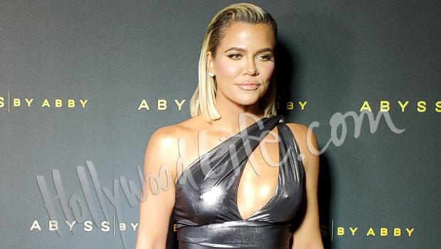 Khloe Kardashian Stuns In High-SlitMetallic Gown With Slicked Back Hair AtLA Event